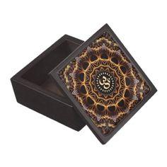 "Golden Fractal Weave Aum Premium Gift Box 3X3"""