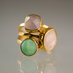 I love to stack my rings just like this. Pretty colors