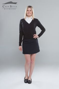 Lady formal outfit, black skort Venezia YU, Shirt Russell, Black Cardigan, Black mocassin Chatham.  Find out at Crew Style - yacht uniforms  www.crewstyle.it