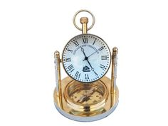 Solid Brass Clock with Compass 5""""
