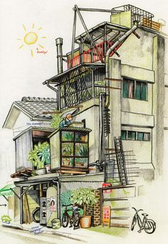 tokyo on foot florent chauvet diario viaggio giappone Illustration Française, Building Illustration, Building Drawing, Building Sketch, Art Et Architecture, Anime City, City Sketch, Japan Street, Art Asiatique