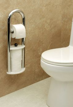 Installing a Bathroom Safety Bars is an inexpensive way to make your bathroom safer. People of all ages and abilities benefit from using bathroom grab bars. Ada Bathroom, Handicap Bathroom, Bathroom Safety, Small Bathroom, Bathroom Ideas, Bathroom Layout, Toilet Paper Dispenser, Toilet Roll Holder, Handicap Accessible Home