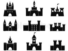 Illustration about Isolated black castle icons from white background. Illustration of flag, historical, fantasy - 40849257 Castle Silhouette, Mountain Silhouette, Silhouette Art, Medieval Tattoo, Girls Bookshelf, Garage Logo, Castle Vector, Modern Castle, Mountain Drawing