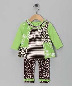 Take a look at this Lime Butterfly Tunic & Leggings - Infant by Just for Baby Collection on #zulily today!