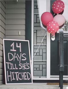 bachelorette sign with polka dot balloons. http://www.weddingchicks.com/2013/08/27/sexy-bachelorette-party-ideas/