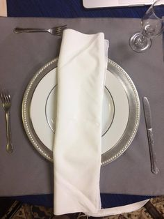 This is our place setting. With thank you card on top in place of the traditional menu card.