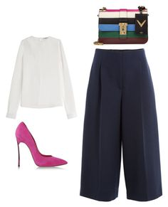 A fashion look from August 2015 featuring sheer blouses, wool pants and high heel pumps. Browse and shop related looks. Fashion Wear, Spring Fashion, Fashion Looks, Fashion Outfits, Classic Style, Style Me, Cullottes, Cute Work Outfits, Business Wear