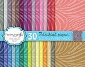 25% OFF 30 zebra animal print digital paper pack, commercial use, scrapbook papers, instant download - PGPSPK599