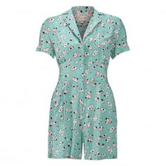 Beaujolie Green Playing Cards Playsuit | Vintage Playsuit - Lindy Bop