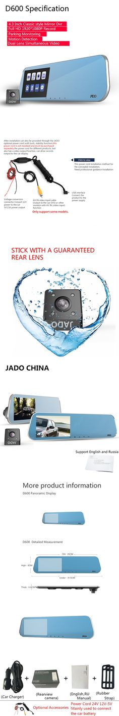 JADO D600 Car Camera Full HD 1080P Car Dvrs Dashcam Parking monitoring Registrar 4.3' Car Dvr Dual Lens Recorder Rearview Mirror