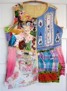 Wearable ART Upcycled VINTAGE Fabrics & Linens Tunic/Jacket by my bonny,