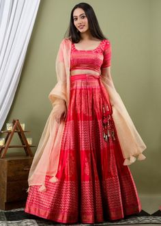 #red #foil #printed #readymade #lehenga #choli #designs # traditional #indian #outfits #gorgeous #wedding #look #ootd #new #arrival #womenswear #online #shopping Red Lehenga, Lehenga Choli, Silk Sarees, Choli Designs, Red Satin, Women Wear, Foil Prints, Formal Dresses, Indian Outfits