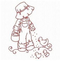 Folk Embroidery Patterns Sunbonnets On The Farm - Embroidery Playground Hand Embroidery Patterns, Vintage Embroidery, Embroidery Applique, Cross Stitch Embroidery, Machine Embroidery Designs, Quilt Patterns, Sue Sunbonnet, Farm Quilt, Cross Stitching