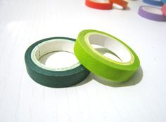 2 Washi Tape  Solid Green and Olive Green  Set of 2 by pinkdotsetc