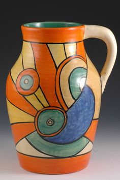 CLARICE CLIFF Lotus Jug - Sliced Circle Pattern - Bizarre marked - 1930