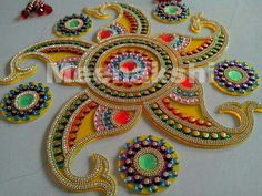 By Aayushi Wakankar Thali Decoration Ideas, Diwali Decorations, Diwali Craft, Diwali Rangoli, Acrylic Rangoli, Diy And Crafts, Arts And Crafts, Flower Rangoli, Indian Festivals