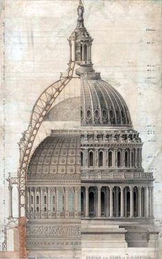 "Thomas Ustick Walter; United States Capitol Dome, Section,1855. By 1854, Walter convinced both the President and the Congress that the old Bulfinch dome was out of proportion with the significantly larger building. The devasting consequences of the Library of Congress fire caused Congress to look at even more pressing reasons for its replacement. One congressman noted the ""dome over the center building of this Capitol…invites fire. There is a nest of dried materials there...that seems almost…"