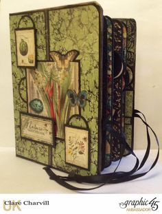 Folio Album altered in papers from the Nature Sketchbook collection by Graphic 45. PDF Tutorial available from my website