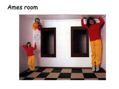 The girl on the left is actually almost twice as far away from the observer as the man on the right. However, when the room is viewed through the peephole, the actual distances can not be seen. Since you perceive the two people to be at the same distance from you, the one who has the larger visual angle appears larger.