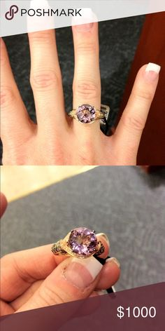 LeVian Chocolate Diamond Cotton Candy Amethyst 6 Genuine LeVian ring. Cotton candy amethyst. About 3-4 carats. Purchased from Kay Jewelers in 2011. Barely worn. Custom sized for a size 6. retail for $2800. Rose gold. Levian Jewelry Rings