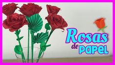 ROSAS DE PAPEL FÁCILES DE HACER | Ramo de Rosas de Papel | CREATIVA OFFICIAL - Bouquet de rosas - Mira lo fácil que es hacer estas hermosas rosas de papel crepe! Ideales para decorar tu hogar o para regalar ;) Además lucen súper reales! Ideas Paso A Paso, Origami, Glass Vase, Etsy, Plants, Youtube, Home Decor, Paper Roses, Bouquet Of Roses