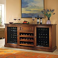 Siena Wine Credenza with Two 28 Bottle Touchscreen Wine Refrigerators - Wine Enthusiast