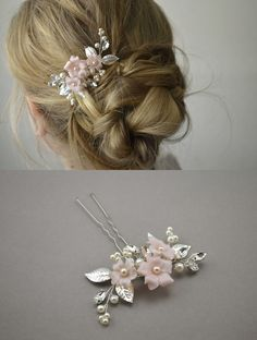 This floral hair pin is all you need to finish your bridal look. You can wear it again after the wedding day to anniversaries and any special occasion. Chic Wedding, Fall Wedding, Wedding Jewelry, Rustic Wedding, Dream Wedding, Hairstyle Wedding, Bride Hairstyles, Bridal Chignon, Bridesmaids And Mother Of The Bride