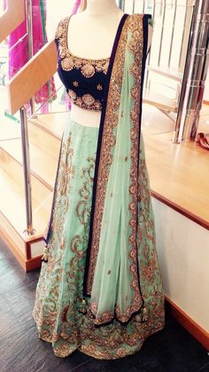 Teal and Purple Lengha
