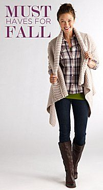 knitted sweater, plaid layered over fun pop of color, skinny jeans, and boots. LOVE FALL. (Oh yes, I will be wearing skinny jeans & boots this fall even if it kills me, lol)