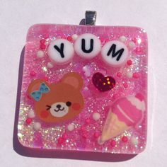 Cute Kawaii Bear Resin Sprinkle Necklace Pink by KawaiiWhimsy, $18.00