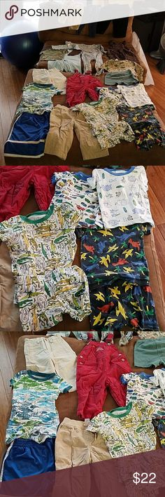 20+ boys clothing lot size 12M to 2T Beautiful lot of mixed boys clothing 12 months to 2T size range. This lot includes pajama sets onesies pants t-shirts and athletic shorts. These items are stained free and tear free and look to be in good condition. Great lot for a growing boy soon-to-be in the sizes. Please ask any questions. GAP Shirts & Tops