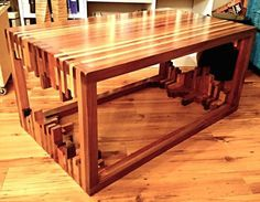 DIY-er Creates A Unique Coffee Table By Stacking Wood
