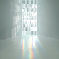 Window made of glass prisms in the   Rainbow Church by Japanese designer Tokujin Yoshiok