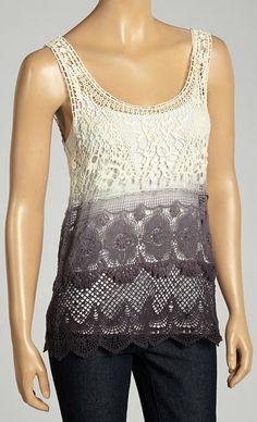 Ivory & Black Ombré Crocheted Sleeveless Top