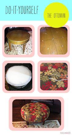 diy ottoman antique table recover