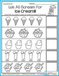Summer wouldn't be summer if we didn't have an ice cream, at least now and again. This summer worksheet is a special treat because it has five different kinds of ice cream! Kids count how many of each one and write how many in the spaces provided. Please see my entire set of 30 summer themed July Counting Worksheets. I think they'll hit the spot - just like an ice cream cone (or a banana split!). Counting Worksheets For Kindergarten, Summer Worksheets, Counting For Kids, Kindergarten Math, Kids Count, Numbers 1 10, Banana Split, Business For Kids, At Least