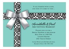 White Bow on Blue Invitation  #Bridal