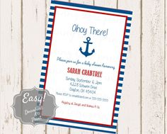 Custom Boy Baby Shower Invitation  Digital Download by PLPrints  Paper & Party Supplies  Paper  Invitations & Announcements  Invitations  boy  baby shower  boy shower  baby  baby boy vintage  rustic  printable  custom  download  nautical  anchor  blue