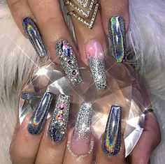 Best Silver Nail Designs for Bright Ladies - Nails C Nail Art Designs, Silver Nail Designs, Elegant Nail Designs, Elegant Nails, Ongles Bling Bling, Bling Nails, Dope Nails, Nails On Fleek, Hair And Nails