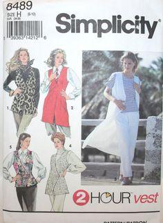 Simplicity 8489, 2-Hour Vest Patterns, Vintage Vest Patterns, Size 6-10, Misses Set of Vests Paper Patterns, Easy Pattern, UNCUT