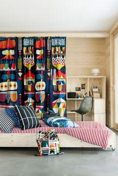 Marimekko home decor inspiration Tiny Loft, Marimekko Fabric, Scandinavian Interior, Drapes Curtains, Drapery, Kid Spaces, Home Decor Inspiration, House Colors, Home Furniture