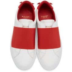 Givenchy White and Red Urban Knots Sneakers ($595) ❤ liked on Polyvore featuring shoes, sneakers, low top, white low top sneakers, rubber sole shoes, white shoes and round cap