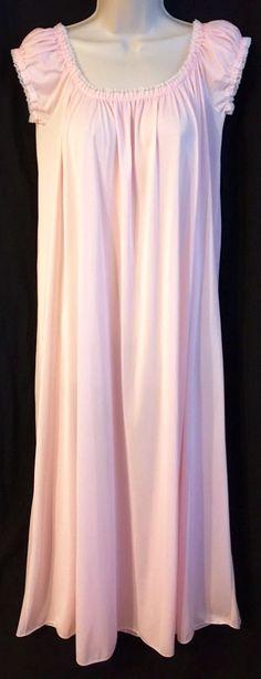 Olga Light Pink Nylon Full Skirt Nightgown Medium Elastic Neckline Cap Sleeve M   eBay