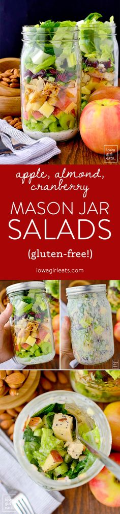Apple, Cranberry, Almond Mason Jar Salads with homemade Greek Yogurt Poppy Seed Dressing are a fresh, healthy, and easy make-ahead lunch option! | iowagirleats.com