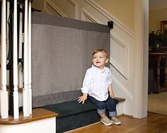 The Stair Barrier - Wall-to-Banister Signature Baby/Pet Gate, Wide - Modern Grey ** Continue @
