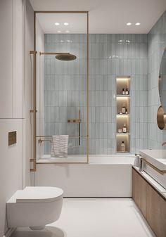 SUBBOTA on Behance Washroom Design, Bathroom Design Luxury, Bathroom Design Small, Modern Bathroom, Dream Home Design, Home Interior Design, House Design, Bathroom Design Inspiration, Beautiful Bathrooms