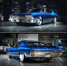 1968 Chevelle 'Blue Eyed Devil' - Pro-Touring, Luxury and Pure Muscle Meet :. - My list of the best classic cars New Sports Cars, Sport Cars, Taxi, Donk Cars, Chevy Chevelle Ss, Chevy Muscle Cars, Old Classic Cars, Us Cars, American Muscle Cars
