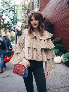 Red Hair With Bangs, New York City Guide, Hairstyles With Bangs, Ruffle Blouse, Travel, Tops, Women, Fashion, Bang Hairstyles