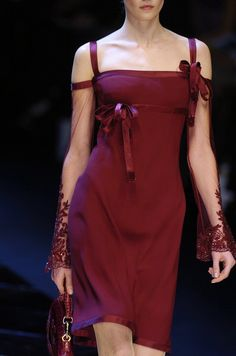 Valentino - LOVE those sheer off the shoulder sleeves.