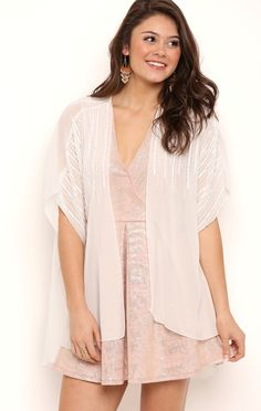 Deb Shops Chiffon Kimono with Beaded Sequin Shoulders